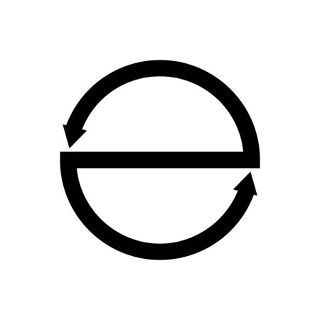 Circle with arrows and a straight line in the middle of the outline icon on a white background.