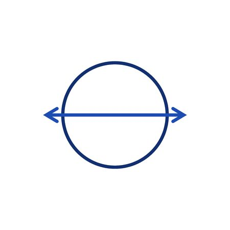 Circle and double horizontal arrow two opposite directions left and left outline icon on a white background