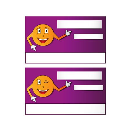Banner or business card with and a smiley pointing to the information block, vector illustration isolated on white background