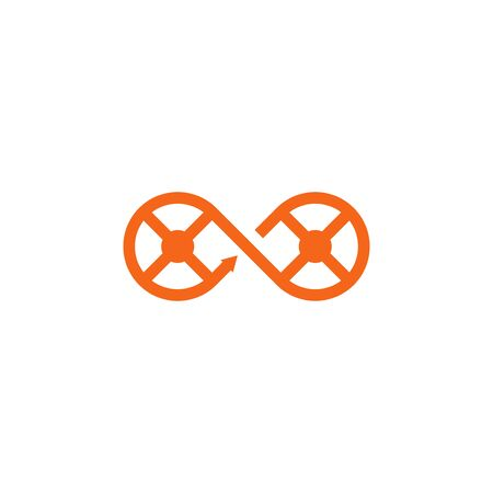 Two wheels in the form of an infinity symbol flat icon isolated on white background Stock Illustratie
