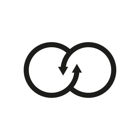 Circle with arrows in the form of an infinity symbol icon on a white background Stock Illustratie