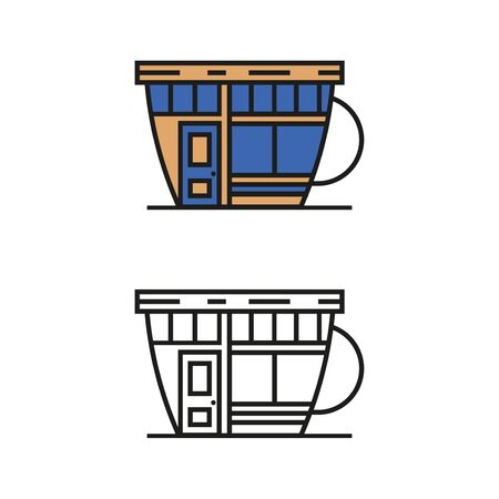 Cafe in the form of a cup vector illustration isolated on white background Stock Illustratie