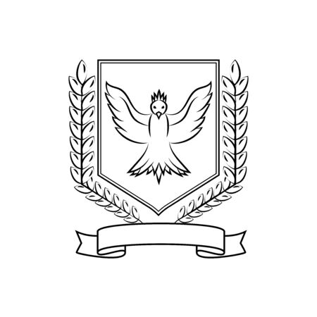 Coat of arms consisting of spikelets of wheat, birds and ribbons, a noble   isolated on white background