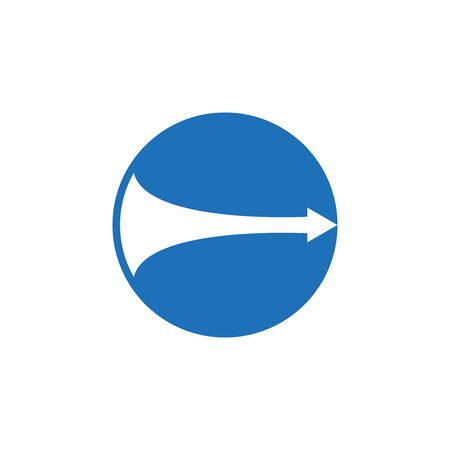 Circle and right arrow flat icon on white background.