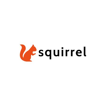 Squirrel logo in a flat style, forest animal vector illustration isolated on a white background Stock Illustratie