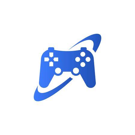 Game joystick and ellipse icon isolated on white background. Stock Illustratie