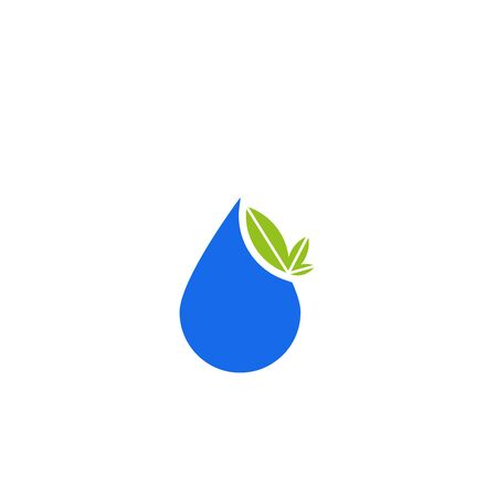 Water drop and plant leaves icon isolated on white background.