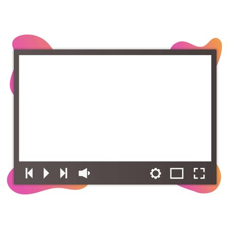 Video player modern banner or poster, vector illustration isolated on white background.