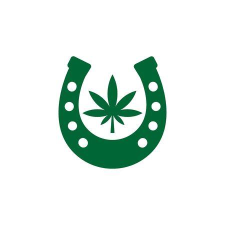 Horseshoe and cannabis leaf icon isolated on white background. Stock Illustratie