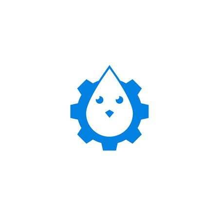Cog wheel and bird fluid, water drop icon isolated on white background. Stock Illustratie