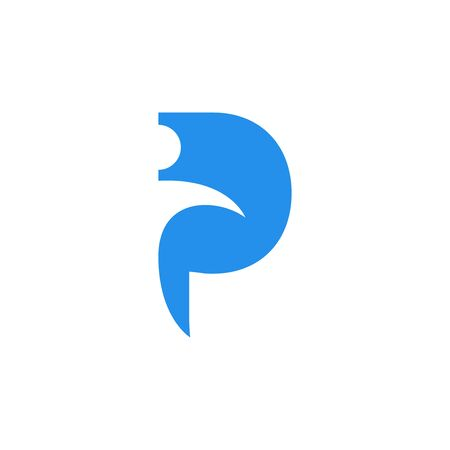 The combination of the letter P and abstract man logo isolated on white background.