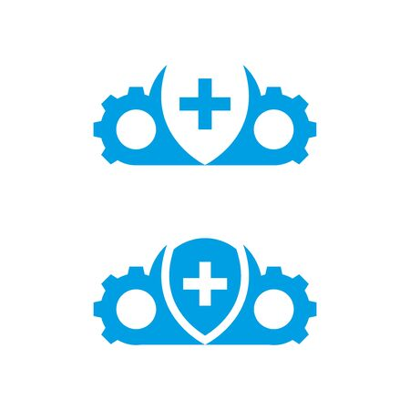 Cross shield, mechanism and cloud icons isolated on white background.