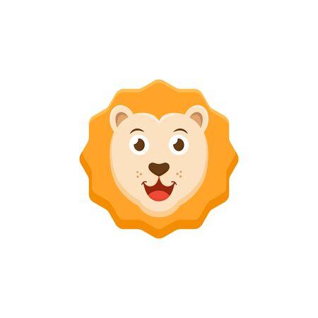 Cartoon sunny lion flat icon, cute animal vector illustration isolated on white background