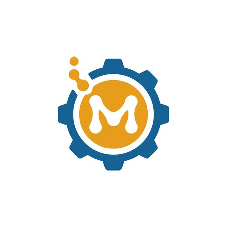 Letter M and gear wheel flat icon, medicine and factory vector illustration isolated on white background.