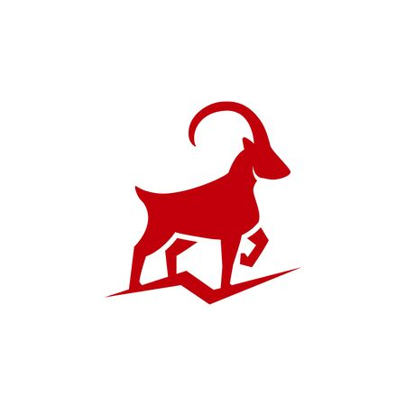 Powerful mountain goat icon in flat style, horned animal vector Illustration on a white background