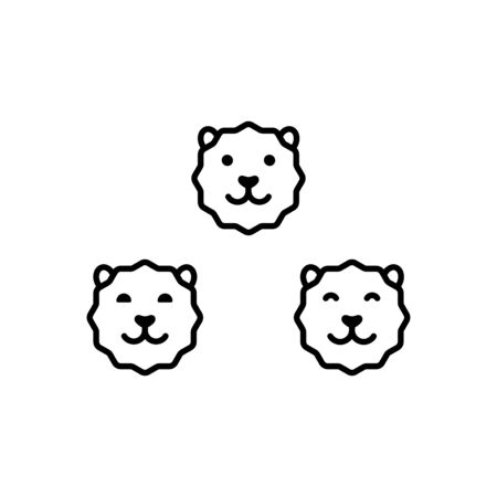 Cute faces of a lion or tiger outline icons, cute animals vector Illustration on a white background