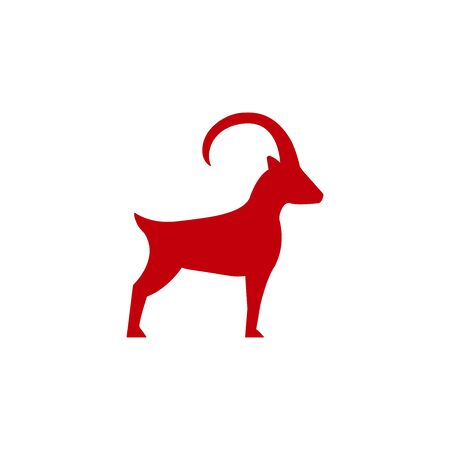 Mountain goat icon in flat style, horned animal vector Illustration on a white background