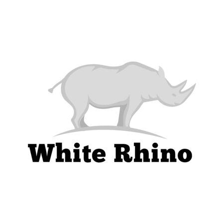 Big white rhino flat icon, african animal vector illustration isolated on white background.