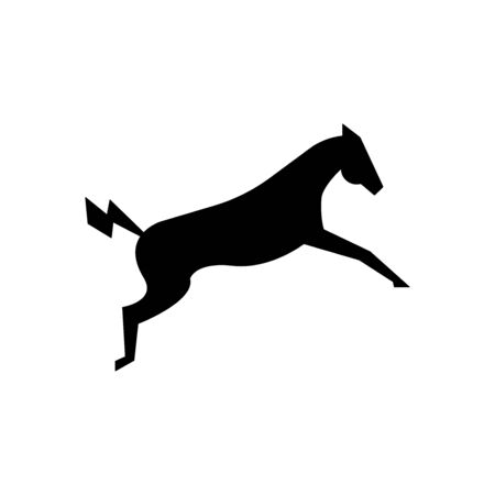Powerful electric horse in a jump vector illustration isolated on a white background.