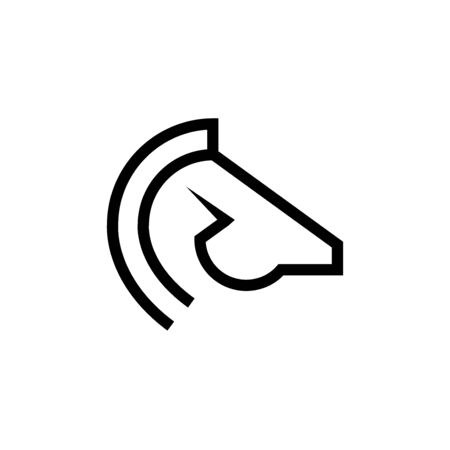 Combination of horse head and lightning outline icon isolated on a white background.