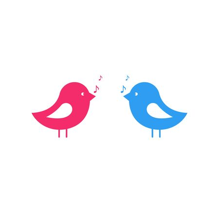 Songbirds flat icon on a white background