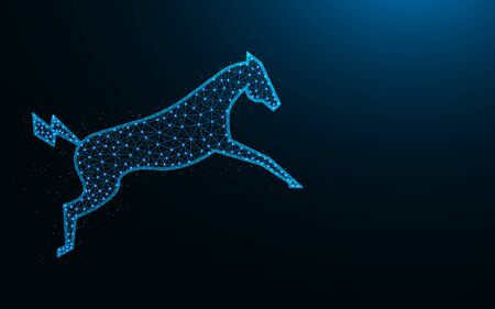 Powerful electric horse in a jump low poly design, animal abstract geometric image, zoo wireframe mesh polygonal vector illustration made from points and lines on dark blue background Stock Illustratie