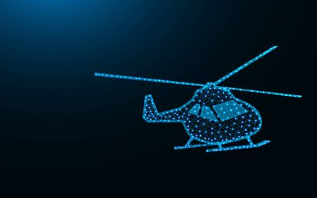 Helicopter low poly design, air transport abstract geometric image, copter wireframe mesh polygonal vector illustration made from points and lines on dark blue background
