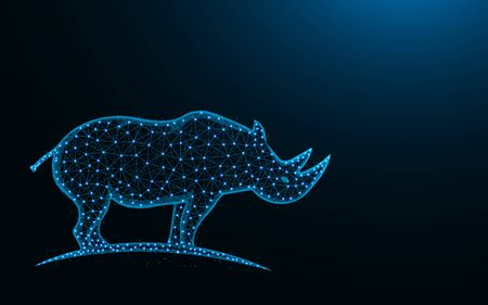 Rhinoceros low poly design, mammal animal abstract geometric image, zoo wireframe mesh polygonal vector illustration made from points and lines on dark blue background Stock Illustratie