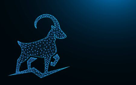 Powerful mountain goat low poly design, animal abstract geometric image, ibex wireframe mesh polygonal vector illustration made from points and lines on dark blue background