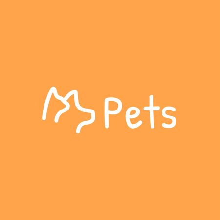Pets outline icon, Dog and cat vector illustration on an orange background.