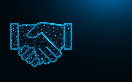 Handshake low poly design, agreement abstract geometric image, business deal wireframe mesh polygonal vector illustration made from points and lines on dark blue background