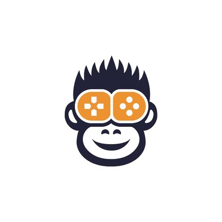 Happy monkey gamer flat icon, animal player and game joystick vector illustration isolated on white background Stock Illustratie