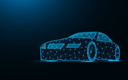 Car low poly design, transport abstract geometric image, driving wireframe mesh polygonal vector illustration made from points and lines on dark blue background Stock Illustratie