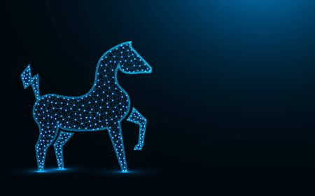 Powerful electric horse low poly design, animal abstract geometric image, zoo wireframe mesh polygonal vector illustration made from points and lines on dark blue background Stock Illustratie