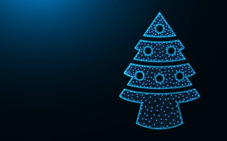 Christmas tree low poly design, spruce with toys abstract geometric image, wireframe mesh polygonal vector illustration made from points and lines on dark blue background