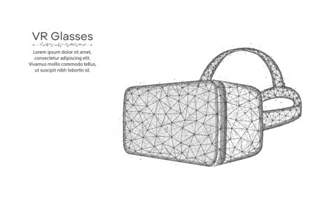 VR glasses low poly design, virtual reality glasses wireframe mesh polygonal vector illustration made from points and lines on white background