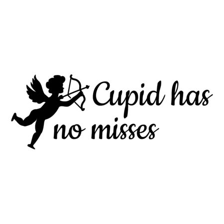 Cupid and the words Cupid has no misses in flat style vector illustration isolated on white background. Stock Illustratie