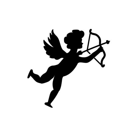 Cupid with bow and arrow in flat style vector illustration isolated on white background.
