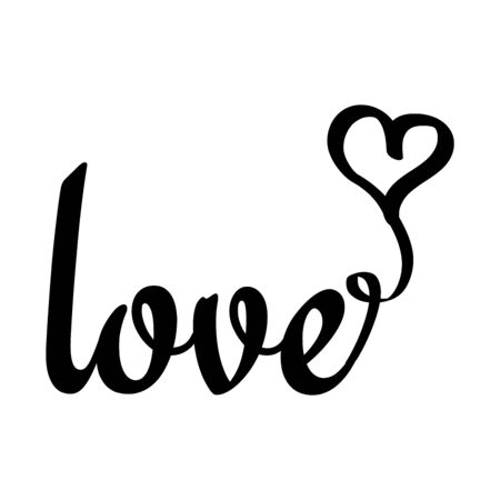 Word love and heart symbol in flat style vector illustration on a white background.