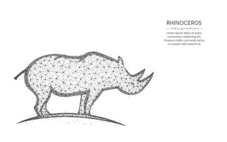 Rhinoceros low poly design, mammal animal abstract geometric art, zoo wireframe mesh polygonal vector illustration made from points and lines on white background 일러스트