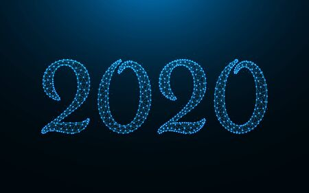 New Year 2020 template design, wireframe mesh polygonal vector illustration made from points and lines on a dark blue background