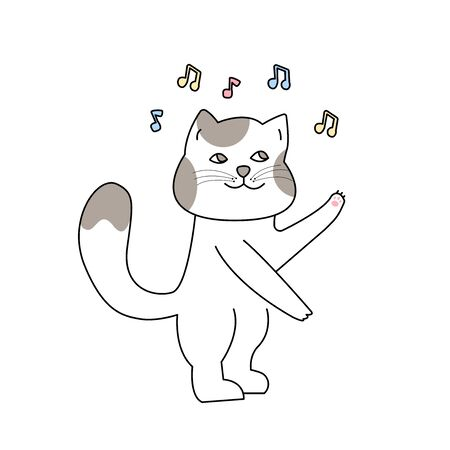 Cute dancing cat in hand drawn style, Cute cartoon funny animal character.