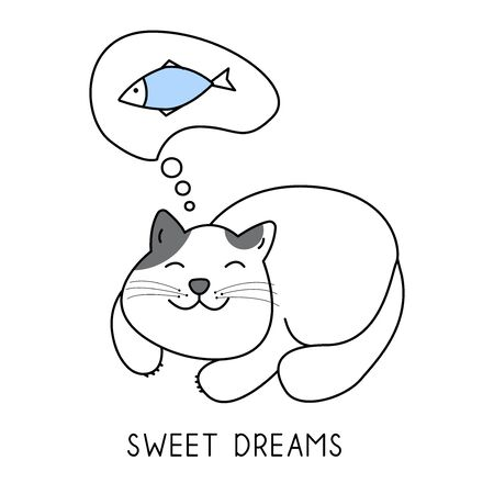 A cute cat is dreaming of a fish, sweet dreams hand drawn style, Cute cartoon funny animal character. Stock fotó - 138634974