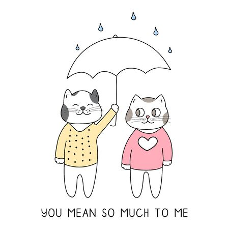 Cute couple of cats with umbrella hand drawn style, Cute cartoon funny animal characters.