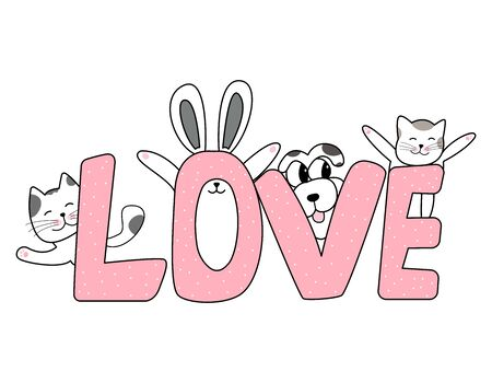 The word love and pets, cats, dog, and rabbit hand drawn style, Cute cartoon funny animal characters.