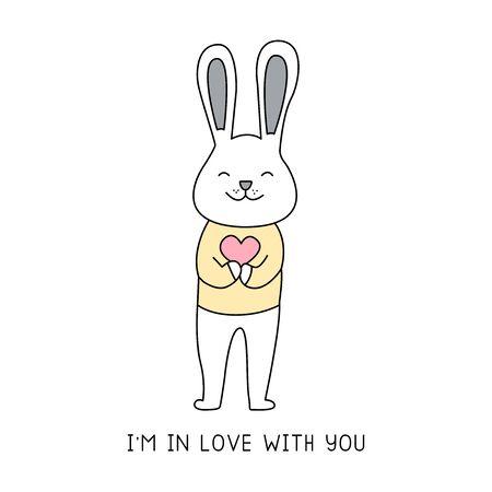 Happy bunny holding a heart hand drawn style, Cute cartoon funny animal characters.