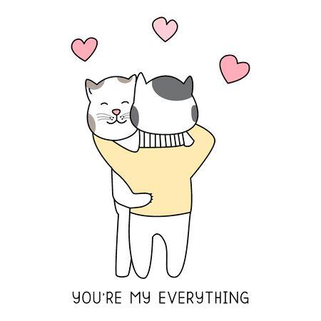 Cute cats hug and heart hand drawn style, Cute cartoon funny animal characters. 向量圖像