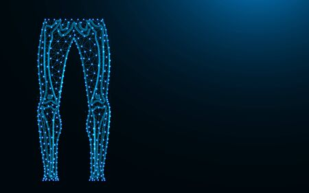 Legs made from points and lines on dark blue background, Skeleton of the legs wire frame mesh polygonal vector illustration