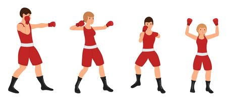 Boxing family, Man, woman, boy and girl are engaged in boxing. Father, mother, son and daughter are training together. Vector Illustration on a white background Vectores
