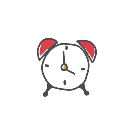 Alarm clock doodle icon, time symbol, clock hand drawn vector illustration on a white background